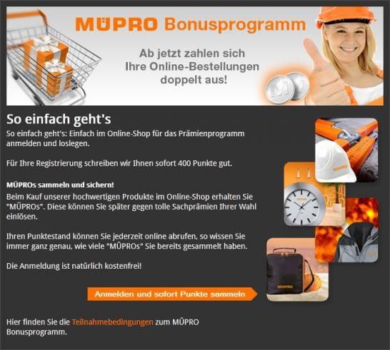 Müpro-Bonusprogramm belohnt Markentreue