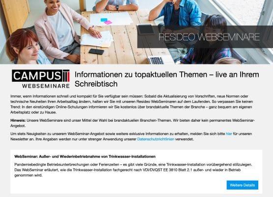 Resideo Campus: Zusätzliche Web-Seminare im Mai und Juni