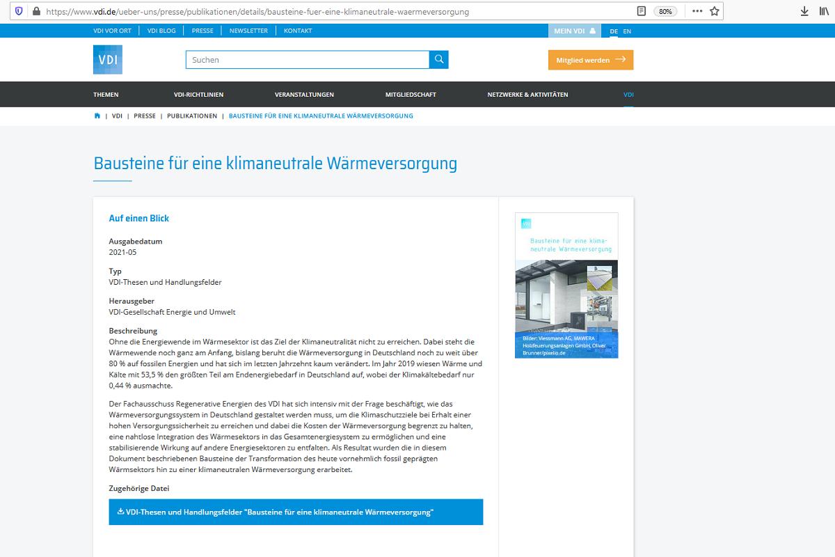 """VDI-Publikation """"Bausteine für eine klimaneutrale Wärmeversorgung"""""""